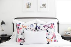 Watercolor floral pillows made from an @Anthropologie napkin and DIY tassel pillow
