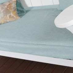 Our Swing Bed cover kit includes one mattress cover and two pillow shams. They are available in eight different colors and are made to fit a twin sized mattress (no more than 8' thick).  These covers give your cushions a beautiful, upholstered look.The fabric is 100% polyester made to resemble linen. It is mildew resistant andfade resistant, however we recommend using Forcefield UV SunBlock spray if your swing gets a lot of direct sunlight.  Please note that all fabric orders are custo...
