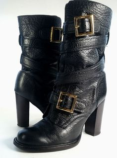 $585 TORY BURCH BOOTS 7 Black Leather 'JADEN' Mid Calf Ankle Boot *Lovely* 7 #ToryBurch #MidCalfBoots