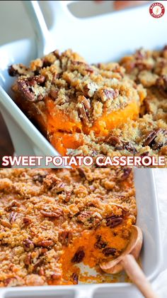 Sweet Potato Casserole with irresistible crunchy pecan topping. This sweet potato bake is smooth and puffs up while baking. A favorite Thanksgiving side! Thanksgiving Dinner Recipes, Thanksgiving Side Dishes, Holiday Recipes, Thanksgiving Sweet Potato Recipes, Traditional Thanksgiving Recipes, Hosting Thanksgiving, Food Videos, The Best, Brunch