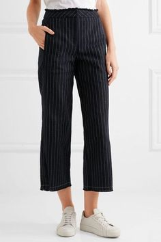 T by Alexander Wang - Cropped Pinstriped Cotton-burlap Wide-leg Pants - Midnight blue - US0