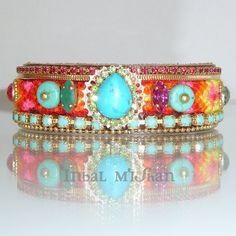 Boho Chic Friendship Cuff,  Colorfull Statement Bracelet, Swarovski Rhinestone with Turquoise Gemstones, Maharaja inspired.