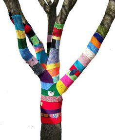 """Inspiration from Yarn bombing public art in Yellow Springs. So much more to do with yarn in the classroom besides using it as """"hair"""" and weaving on plates.  LOL"""