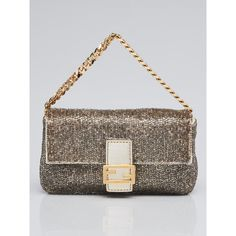 46f34d977091 Pre-owned Fendi Gold Beaded and Leather Micro Baguette Bag 8M0354 ( 695) ❤