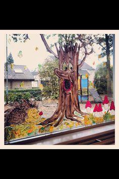 Raamschildering herfst