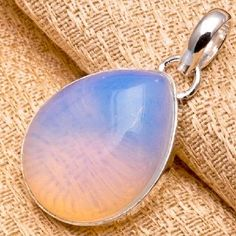 Awesome Sterling Silver Plated Opalite Teardrop Shaped Pendant #0227 $9.95