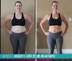 """Ashley F. lost 22 lbs in 60 days with PiYo!    """"I thought I might never be myself again before I started this program but I finally feel like I am back to the person I was long ago."""""""