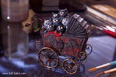 spooky carriage full of black kitties, HA! - by Caroline McFarlane-Watts