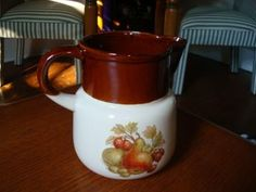 Vintage Brown and Ivory Fruit and Nut Pitcher by McCoy by SelectionsBySusan for $18.00