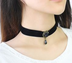 Royal Black Rose Bead Vintage Style Leather Choker Necklace #jewelry #jewelrylover #necklaces #chokers #fashion #style #shopping #women #womens #womenstyle #womenstuff