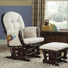 Nursery Baby Glider Rocker and Ottoman Beige Cushions Espresso Finish Chair Set #Storkcraft | Baby and Toddleru0027s | Pinterest | Beige cushions ... & Nursery Baby Glider Rocker and Ottoman Beige Cushions Espresso ...