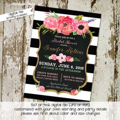 bridal shower black and white stripe baby girl shower invitation gold floral chalkboard wedding baptism (item 363) shabby chic invitations www.katiedidcards.com