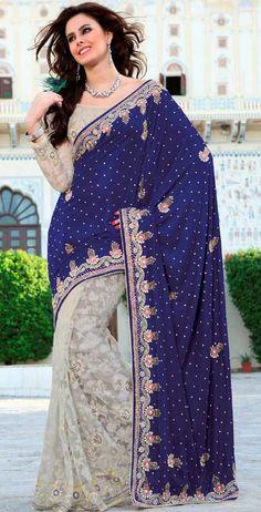 USD 184.4 Blue and White Sequins Work Brasso Wedding Saree 28220
