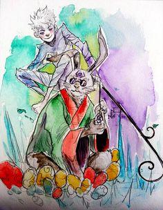 Book design Bunnymund and Jack Jack Frost, Guardians Of Childhood, Jack And Elsa, Jack Rabbit, Rise Of The Guardians, Httyd, Disney And Dreamworks, Golden Age, Book Design