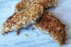 Coconut Crusted Chicken Tenders 1 egg ½ cup Coconut Milk (Almond milk works too) 2 pounds Chicken Tenderloins (approx. 12 tenders) ¾ cup Almo
