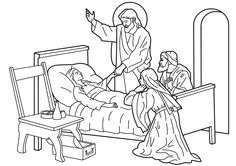 Jesus raising Jairus's daughter from the dead. Bible coloring page