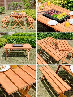 ガーデン、エクステリア、テーブル・ベンチ3点セット、BARNEYS(バーニーズ)、テーブル&ベンチセット、テーブル、チェア、椅子、バルコニー、テラス、バーベキュー、コンロ、天然木材、杉材