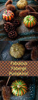 Fabulous Fabergé Pumpkins - an easy Halloween Craft with lots of sparkle and colour! Easy Halloween Crafts, Fall Halloween, Easy Homemade Gifts, Spooky Pumpkin, Autumn Crafts, Craft Projects, Project Ideas, Pumpkins, Christmas Bulbs