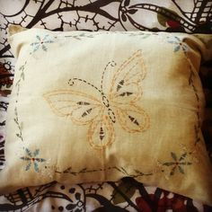 Butterfly embroidery pillow by :Rebekah Barter