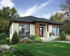modern two-bedroom house plan Contemporary House Plans, Contemporary Style Homes, Modern House Plans, Contemporary Design, Bungalow Haus Design, Bungalow House Plans, House Design, Two Bedroom House, Architectural Design House Plans