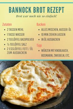 Bannock Brot Rezept – ohne Ofen in der Wildnis backen Baking bread in the wild without an oven? Yes, you can, with the Bannock bread recipe. In the article you will learn how it only works with a campfire and a frying pan or a stick. Pizza Recipes, Bread Recipes, Baking Recipes, Vegan Recipes, Dinner Recipes, Camping Desserts, Camping Meals, Camping Survival, Bannock Bread