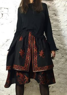 Designer double-layered Bali Girl skirt with two pockets. Made of ethnic cotton.