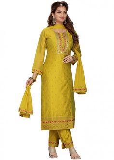 #yellow #embroidered #readymade #salwar #kameez #traditional #indian #salwar #suit #indianfashion #party #wear #collection #eid #2021 #ootd Indian Salwar Suit, Pakistani Suits, Trouser Suits, Trousers, Readymade Salwar Kameez, Wedding Pantsuit, Chanderi Suits, Straight Cut Pants, Pantalon Cigarette