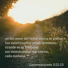 ¡el fiel amor del Señor nunca se acaba! Sus misericordias jamás terminan. Grande es su fidelidad; sus misericordias son nuevas cada mañana. Lamentaciones 3:22-23
