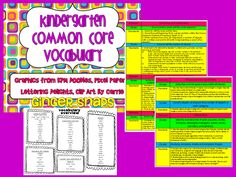 Kindergarten Common Core Vocabulary