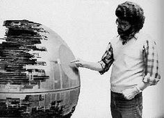 Star Wars: George Lucas checks out the Death Star model - click on the image to find the link to a 3000+ photos from a Star Wars BTS Flickr archive...