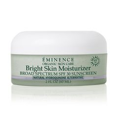 A pigment lightening moisturizer for normal to dry skin that will nourish and brighten your skin for a glowing look and feel. As with all products in the Bright Skin collection Natural Hydroquinone Alternative and Gigawhite™ help brighten skin, reduce the appearance of dark spots and the signs of aging. This moisturizer also contains SPF 30 offering protection from further damage.
