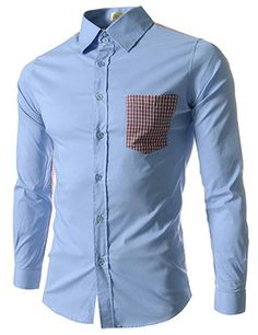 (EVS75-SKY) Slim Fit Stretchy Checker Patched 1 Chest Pocket Long Sleeve Shirts