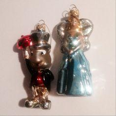JIMINY & PINOCCHIO Blown Glass Ornaments  SIX  by HamiltonBay