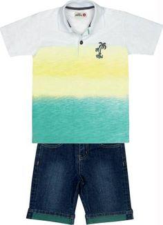 CONJUNTO POLO MAR VERDE/BERMUDA JEANS Conjunto Marisol contendo Camisa Polo em meia malha, peitilho com fecho em botão, estampa personalizada e Bermuda em jeans, com bolsos frontais e traseiros, barra dobrada e passante para cinto.  Cor: Verde. Composição: Camisa Polo: Algodão 100% Bermuda: Algodão 98% Elastano 2%.