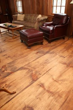 How to create an antique-looking floor using newly sawn affordable wide plank pi. Wide Plank Flooring, Diy Flooring, Wooden Flooring, Hardwood Floors, Penny Flooring, Stained Plywood Floors, Inexpensive Flooring, Flooring Ideas, Planks
