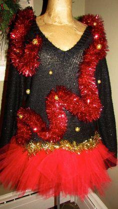 "UGLY CHRISTMAS Sweater Black Sexy Sheer Back oh la la a & TuTu  sz S 40"" chest #UglyChristmas #Ugly"
