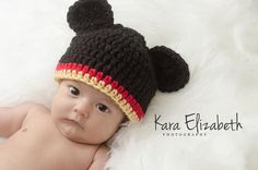 Newborn Mickey Mouse set crochet made to order by BeccasBeanies