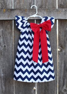 Navy Red Chevron Bow Peasant Dress  Baby by MooseBabyCreations, $27.50