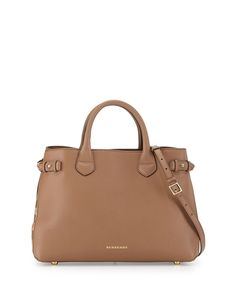 Burberry Leather & Check Canvas Tote Bag, Dark Sand from Neiman Marcus on Catalog Spree
