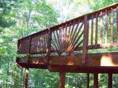 deck with sun design handrail Wood Deck Railing, Loft Railing, Deck Railing Design, Deck Design, Pergola Canopy, Pergola Shade, Pergola Plans, Pergola Kits, Wooden Patios