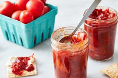 You can use it on burgers, grilled chicken, or just eat it with cheese and crackers. Tomato Jam, Summer Tomato, Just Eat It, Jam Recipes, Grilled Chicken, Cooking Time, Yummy Food, Stuffed Peppers, Crackers