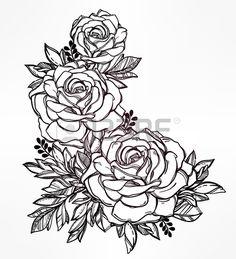 Vintage floreale a mano molto dettagliato redatto rosa staminali fiore con rose e foglie Motif vitto Archivio Fotografico