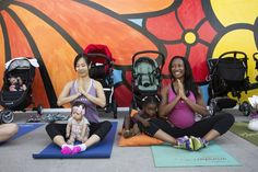 linda okwor, accompanied by her daughter izzy, lead a class at la's baby boot camp