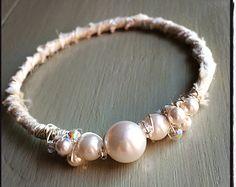 Sari Silk with Swarovski Pearl & Crystal Bridal Bangle Bracelet E14005