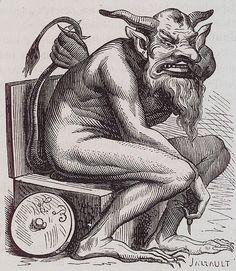 A devil on a toilet.