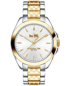 COACH WOMEN'S TRISTEN SIGNATURE ETCHED TWO-TONE STAINLESS STEEL BRACELET WATCH 36MM 14502180 - COACH - Jewelry & Watches - Macy's