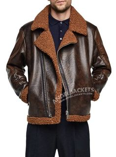 Enjoy the badass style of Dean Ambrose with the all-new dark brown shearling Jacket Badass Style, Dean Ambrose, Shearling Jacket, Leather Jackets, Dark Brown, Attitude, Mens Fashion, Collection, Moda Masculina