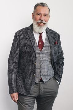 #grey_is_the_new_cool #50+ #never_too_old #silverfox Men's Style, 50th, Suit Jacket, Mens Fashion, Blazer, Suits, Grey, Jackets, Male Style