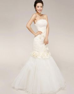 Beige mermaid strapless floor length crystal yarn over satin wedding dress with camellias US$184.50