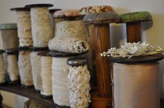 Vintage spools and antique French lace,similar available from Lily Pond, Geelong